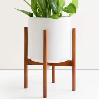12 in. White Ceramic Cylinder Planter with Medium Wood Stand (10 in., 12 in. or 15 in.)
