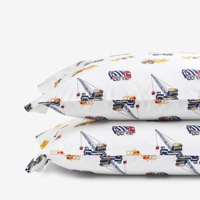 Company Kids Builder's Site Multicolored Organic Cotton Percale Standard Pillowcase (Set of 2)