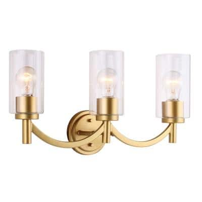 Devora 3-Light Antique Gold and Clear Glass Bath Light