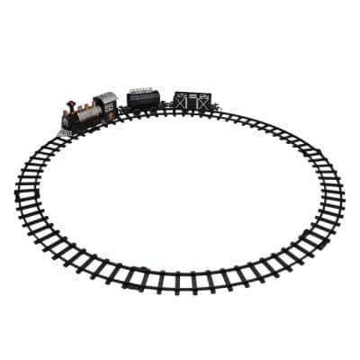 9-Piece Battery Operated Black and Silver Lighted and Animated Classic Train Set with Sound