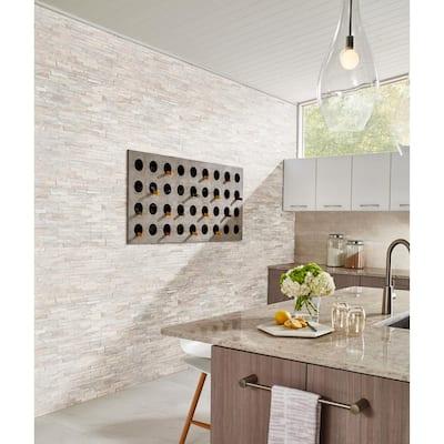 Arctic Golden Ledger Corner 6 in. x 6 in. Natural Marble Wall Tile (2 sq. ft./Case)