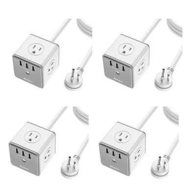 Surge Protector Extension Cord Outlet with AC Plugs and USB Ports (4-Pack)