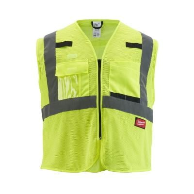 Large/X-Large Yellow Class 2 Mesh High Visibility Safety Vest with 9-Pockets