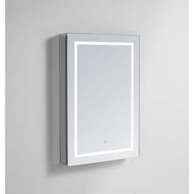 Royale PlusV2 24 in. W x 30 in. H Recessed/Surface Mount Medicine Cabinet with Mirror, Single Door, LED, Right Hinge