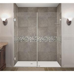 Aston Nautis 72 In X 72 In Completely Frameless Hinged Shower Door In Chrome Sdr985 Ch 72 10 The Home Depot