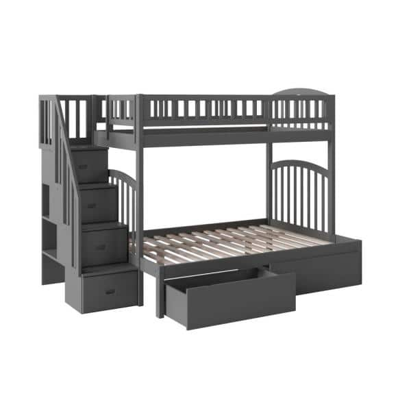 Atlantic Furniture Westbrook Grey Twin Over Full Staircase Bunk with 2-Urban Bed Drawers   The Home Depot