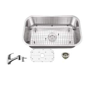 All-In-One Undermount 18-Gauge Stainless Steel 29-3/4 in. Single Bowl Kitchen Sink with Low Profile Pull Out Faucet
