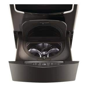 29 in. 1.0 cu. ft. SideKick Pedestal Washer w/ TWINWash System Compatibility and NeveRust Drum in Black Stainless Steel