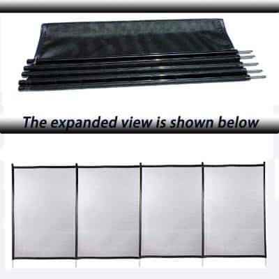 4 ft. x 48 ft. Outdoor Black In Ground Pool Fence With Section Kit, Removable Mesh Barrier