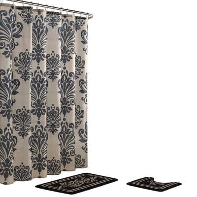 Reverly Damask 18 in. x 30 in. Bath Rug and 72 in. x 72 in. Shower Curtain 15-Piece Set in Black/Linen
