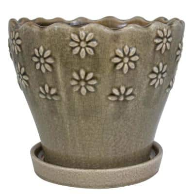 7 in. Taupe Embossed Floral Ceramic Planter