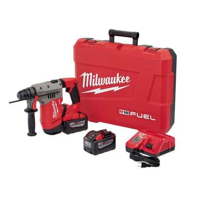 M18 FUEL 18-Volt Lithium-Ion Brushless Cordless 1-1/8 in. SDS-Plus Rotary Hammer Kit W/(2) 9.0Ah Batteries,Rapid Charger