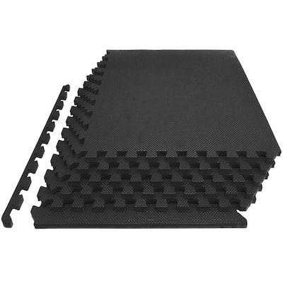 Extra Thick Exercise Puzzle Mat Black 24 in. x 24 in. x 1 in. EVA Foam Interlocking Anti-Fatigue (6-pack) (24 sq. ft.)