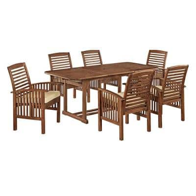 Boardwalk 7-Piece Dark Brown Acacia Outdoor Dining Set with Cushions
