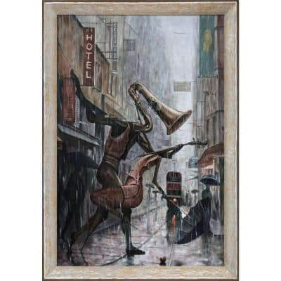 """""""Life Is a Dance in The Rain Instrumental Reproduction"""" by Adrian Borda Framed Abstract Oil Painting 44 in. x 32 in."""