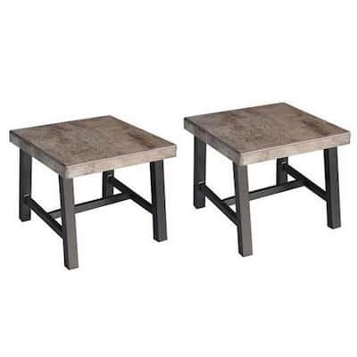 Delta Square Aluminum Outdoor Side Table (2-Set)