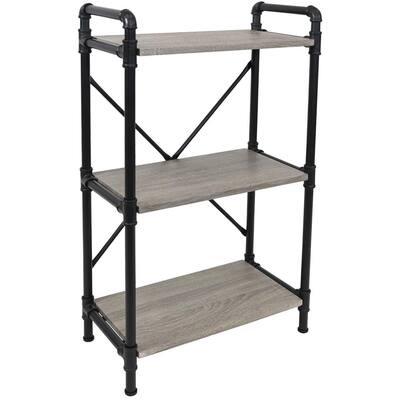 39.75 in. Oak Gray 3-Shelf Standard Bookcase with Black Pipe
