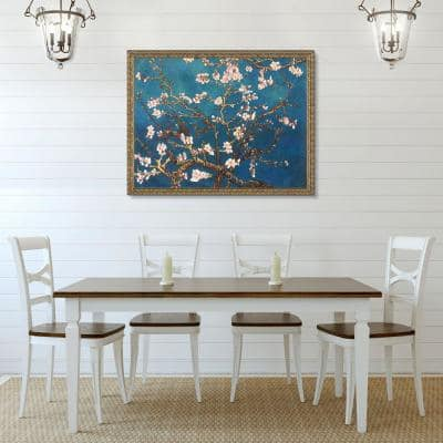 """52 in. x 40 in.""""Branches of an Almond Tree in Blossom Golden Oak Leaf Frame"""" by Vincent Van Gogh Framed Wall Art"""