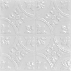Tiptoe 2 ft. x 2 ft. Tin Ceiling Tiles Lay-in White (48 sq. ft./case)