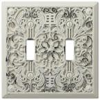 Filigree 2 Gang Toggle Metal Wall Plate - White