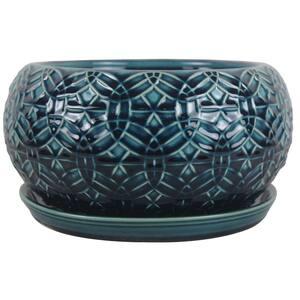 10 in. Dia Blue Rivage Ceramic Bowl Planter