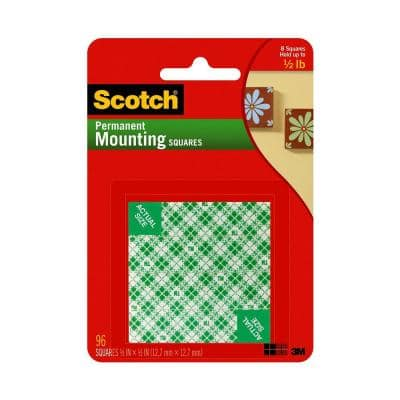 Scotch 0.5 in. x 0.5 in. Permanent Double Sided Indoor Mounting Squares ((96-Pack)(Case of 24))