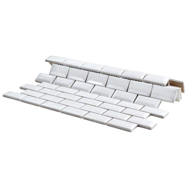 Merola Tile Metro Subway Beveled Glossy White 12 In X 12 In X 5 Mm Porcelain Mosaic Tile Fxlmsbgw The Home Depot