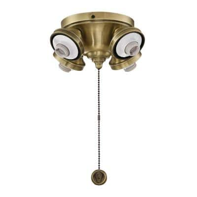 4-Light Antique Brass Ceiling Fan Fitter LED Light Kit