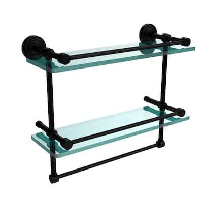 16 in. L  x 12 in. H  x 5 in. W 2-Tier Gallery Clear Glass Bathroom Shelf with Towel Bar in Matte Black