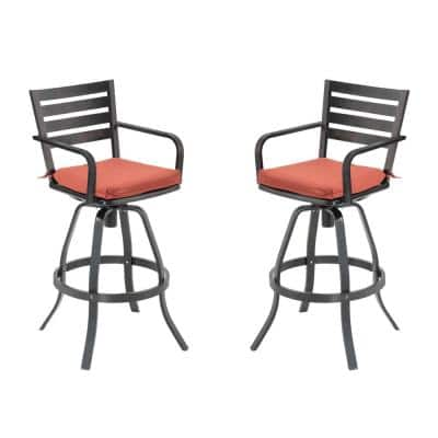 Swivel Cast Aluminum Outdoor Bar Stool with Sunbrella Red Cushion (2-Pack)