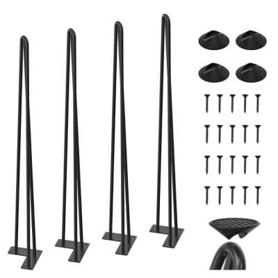 34 in. Black Coating Metal Bench Legs Hairpin Table Legs for Furniture Feet (Set of 4-Pack, 3-Rod Black)