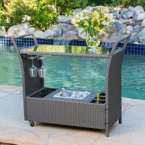 Bahama Wicker Outdoor Serving Bar with Ice Bucket