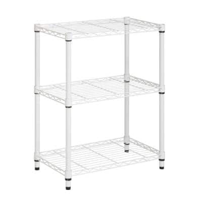 White 3-Tier Metal Wire Shelving Unit (24 in. W x 30 in. H x 14 in. D)