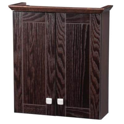 Renditions 19-1/4 in. W x 21-7/10 in. H x 7 in. D Bathroom Storage Wall Cabinet in Java Oak