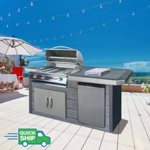 4-Burner Gas Grill, 7 ft. Synthetic Wood and Tile BBQ Grill Island