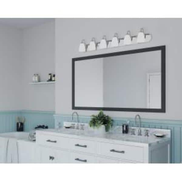 Progress Lighting Gather Collection 6 Light Brushed Nickel Etched Glass Traditional Bath Vanity Light P2714 09 The Home Depot