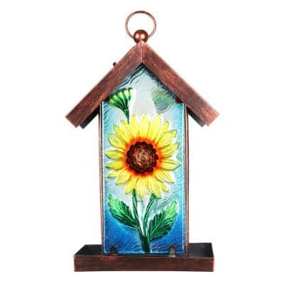 8 in. x 14.5 in. Solar Sunflower Panel Hanging Glass Bird Feeder
