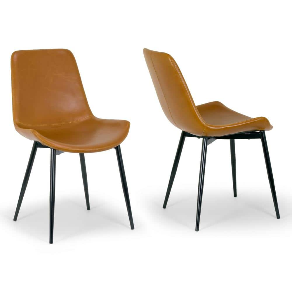 Glamour Home Set Of 2 Alary Caramel Brown Faux Leather Modern Dining Chair With Black Iron Legs Ghdc 1203 The Home Depot