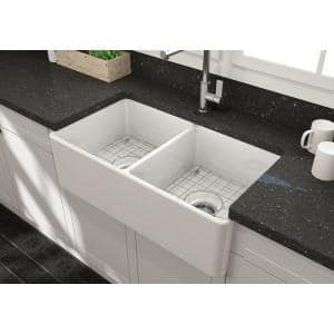Farmhouse Apron-Front Fireclay 33 in. Double Bowl Kitchen Sink in White with Grid Set