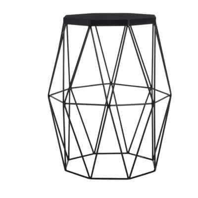 Mettler Hexagonal Black Metal Accent Table with Geometric Base (16 in. W x 20 in. H)