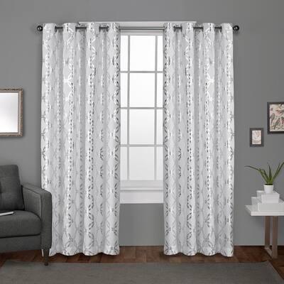 Winter White Trellis Grommet Room Darkening Curtain - 54 in. W x 108 in. L (Set of 2)