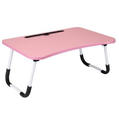 23 in. W Freestanding Lap Desk with Fold-Up Legs, Pink