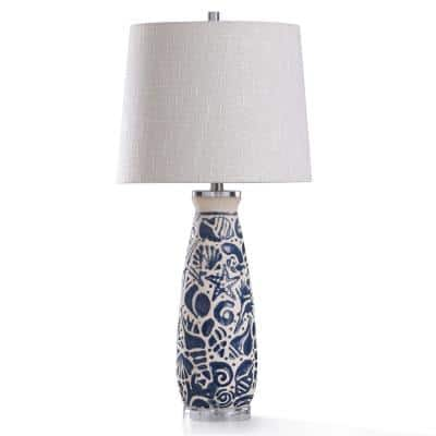 31 in. Coastal Motif Blue and Ivory Ceramic with Clear Acrylic Base Bedside Lamp