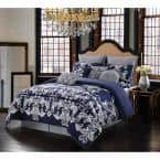 Dolce 10-Piece Silver and Navy King Comforter Set