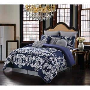 Dolce 10-Piece Silver and Navy Queen Comforter Set