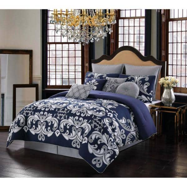 Style 212 Dolce 10 Piece Silver And, Silver And White Bedding Sets