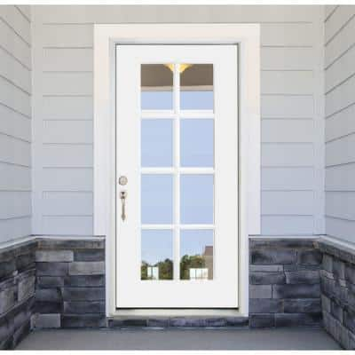 32 in. x 80 in. Legacy 8 Lite Full Lite Clear Glass Right Hand Inswing White Primed Fiberglass Prehung Front Door