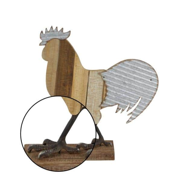 Litton Lane 14 In Rustic Farmhouse Rooster Sculpture In Distressed Wood And Iron 59452 The Home Depot