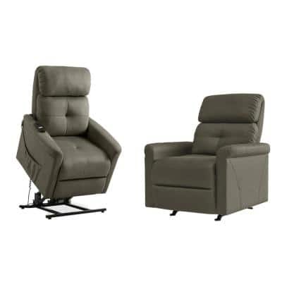 Manual Rocker Recliner and Power Lift Recliner Chairs in Gray Nubuck Fabric (Set of 2)