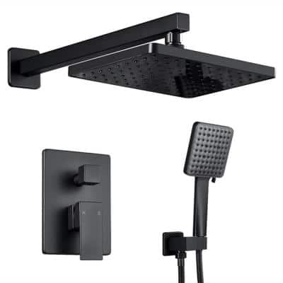 2-Handle 2- -Spray of Rain Shower Faucet and HandShower Combo Kit with Rectangle Shower Head in Black (Valve Included)